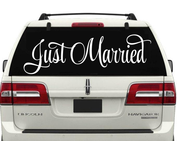 Just Married Car Window Decal -Wedding Decor-Just Married Decals-Just Married Car Decals-Just Married Car Window Decals-Just Married Sticker