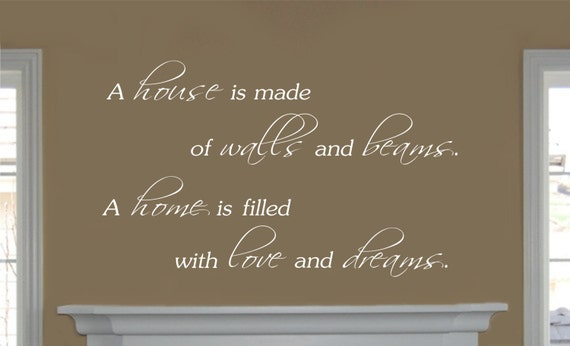 Family Decal - Wall Quote Vinyl Family Wall Decal - A House is Made of Walls and Beams - Family Decor-Family Wall Decals-Family Decals