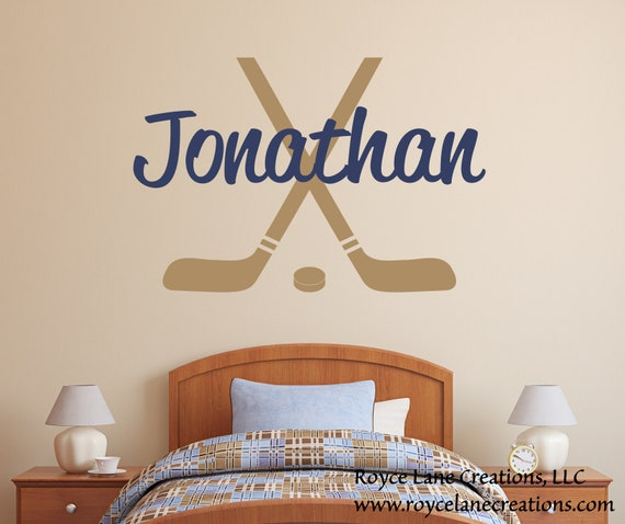Hockey Sticks And Hockey Puck with Personalized Name for Boys Room