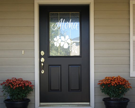 Aloha Hawaiian Welcome Front Door Decal- Welcome Decal- Aloha Decal - Aloha Welcome Decal - Aloha Front Door Decal - Aloha Door Decal