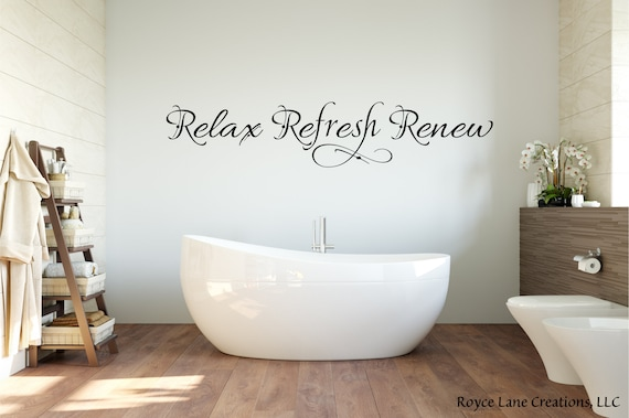 Relax Refresh Renew Wall Decal Bathroom Decals For Walls Etsy