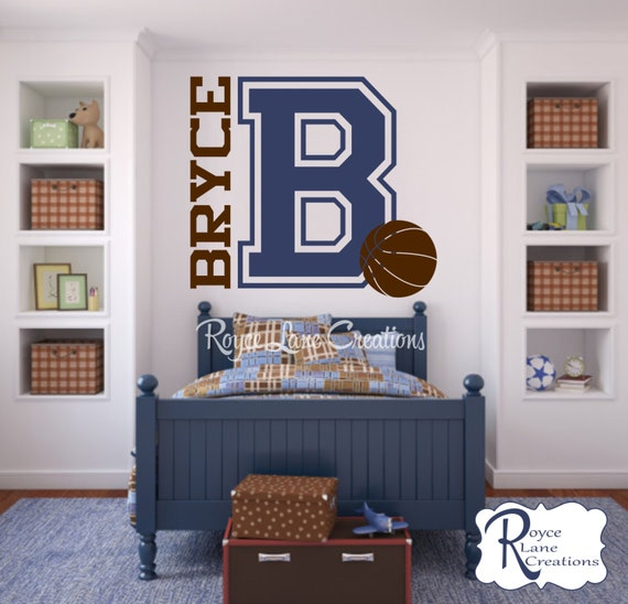 Varsity Letter Decal with Personalized Name and Basketball for Boys Bedroom