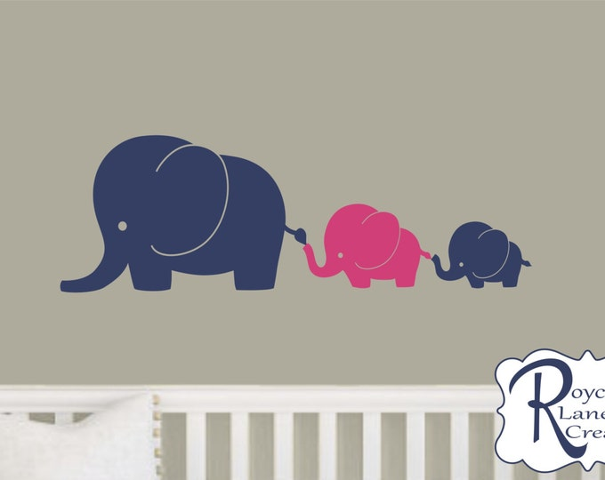 Nursery Decals-3 Elephant Family in 2 Colors 36X12 Size- Nursery Wall Decal-Nursery Decor-Nursery Art -Elephant Nursery