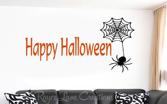 Happy Halloween with Spider and Spider Web Halloween Wall Decal