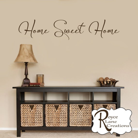 Home Sweet Home Wall Decal in a Flowing Handwritten Calligraphy Style