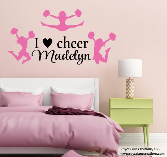Cheerleader Varsity Sports Vinyl Decal Wall Sticker Words Lettering Teen Room
