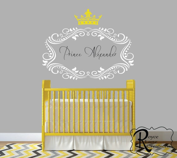Prince or Princess with Crown N16 Personalized Nursery Wall Decal