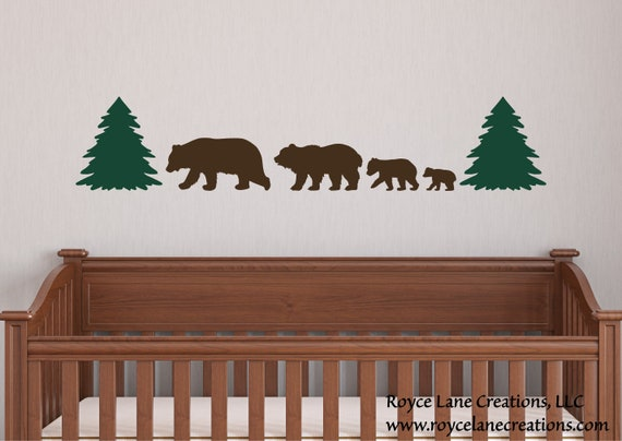 4 Bear Family Woodland Animal Bear Nursery Decal