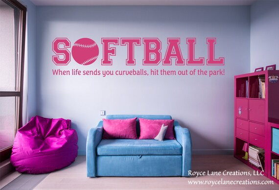 When Life Hands You Curveballs Softball Quotes Softball Wall Decal