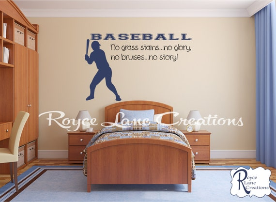 No Grass Stains No Glory No Bruises No Story XLG Size Baseball Wall Decal