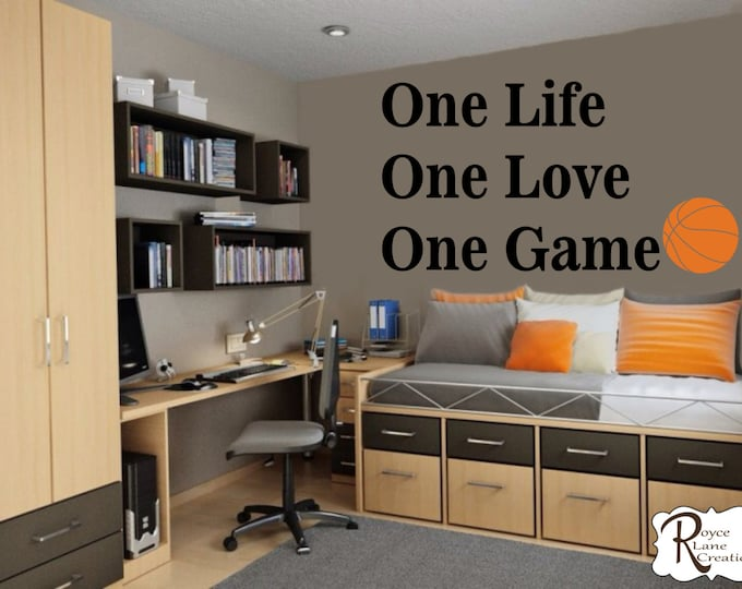Basketball Quote for Teen Boys Bedroom Sports Wall Decal Basketball Wall Decal One Life One Love One Game Basketball Decal