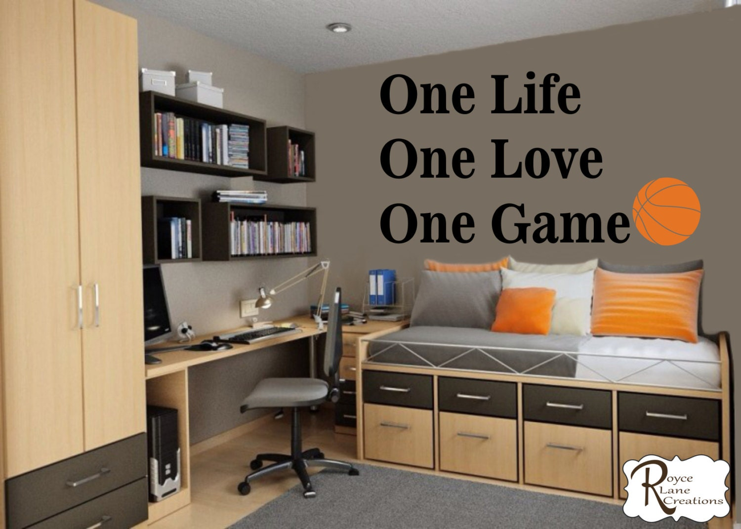 . Basketball Quote for Teen Boys Bedroom Sports Wall Decal Basketball Wall  Decal One Life One Love One Game Basketball Decal