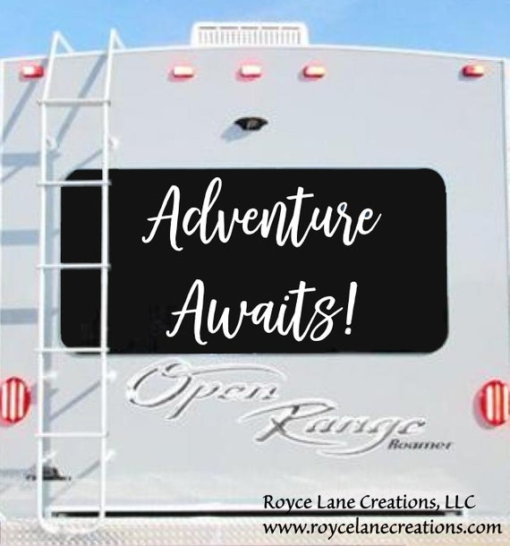 Adventure Awaits Decal for RV Window or Car Window