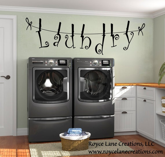 Laundry Letters Held by Clothespins Laundry Room Decal