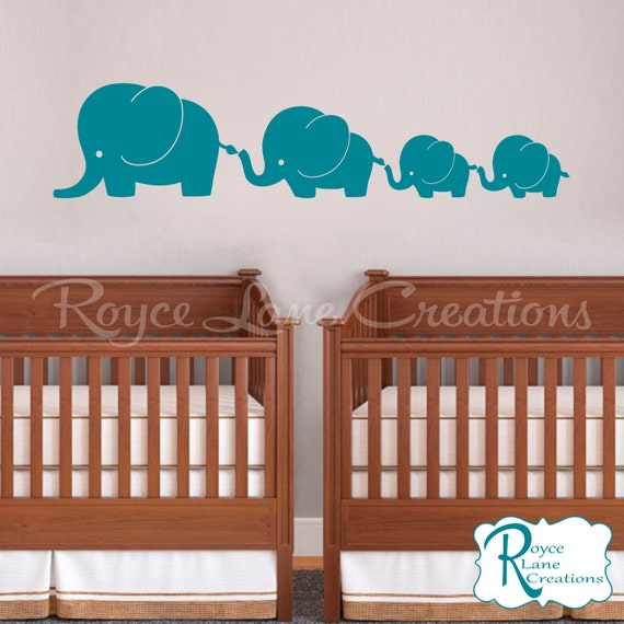 4 Elephant Family with Twin Baby Elephants N19 Twins Vinyl Wall Decal