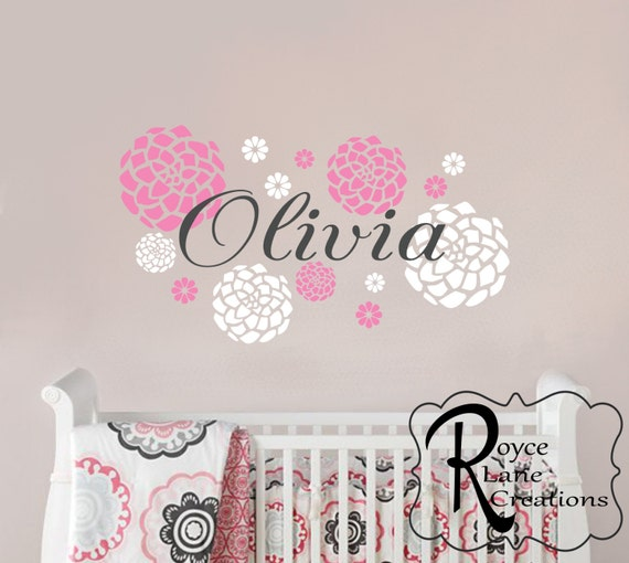 Baby Girl Name With Dahlia Flowers Decal For Girls Nursery