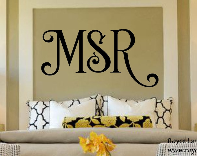 Bedroom Wall Decal - 3 Initial Monogram RLC - Name Sign-Monogram Decal-Monogram Sticker-Monogram Wall Decal- Bedroom Decor-Bedroom Decal