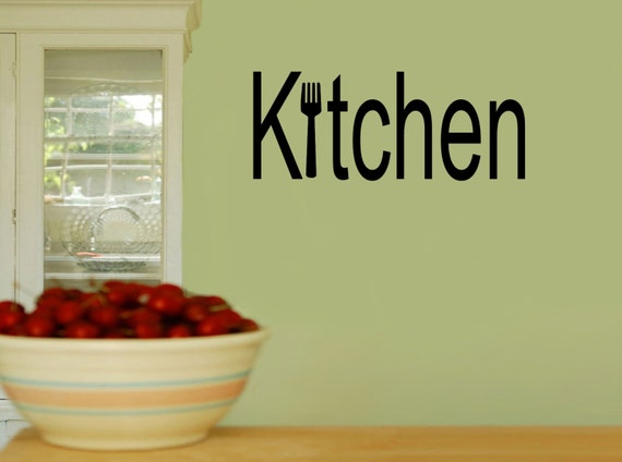 Kitchen Fork Word Art Kitchen Wall Decal