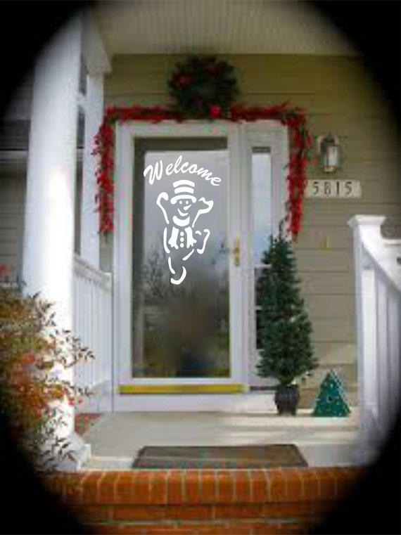 Front Door Decal - Welcome with Snowman Vinyl Decal - Welcome Decal - Welcome Door Decal - Welcome Sign