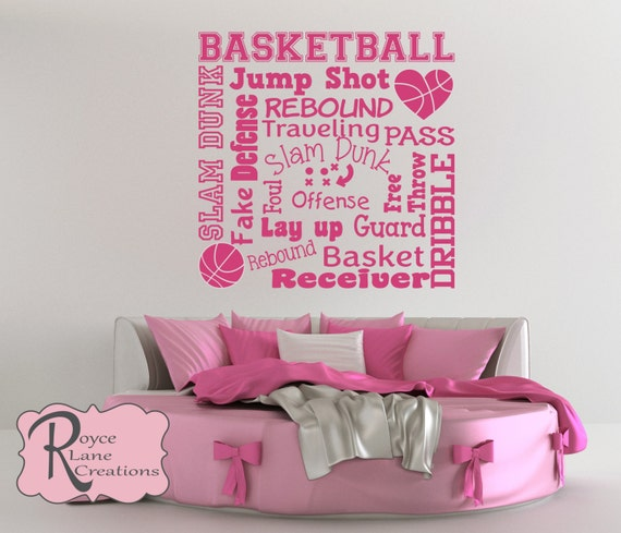 Girls Basketball Wall Decal Basketball Word Art 2 for Girls