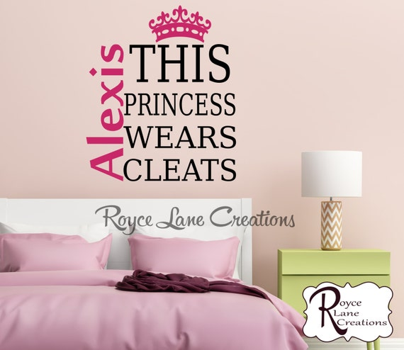 This Princess Wears Cleats Girls Wall Decal
