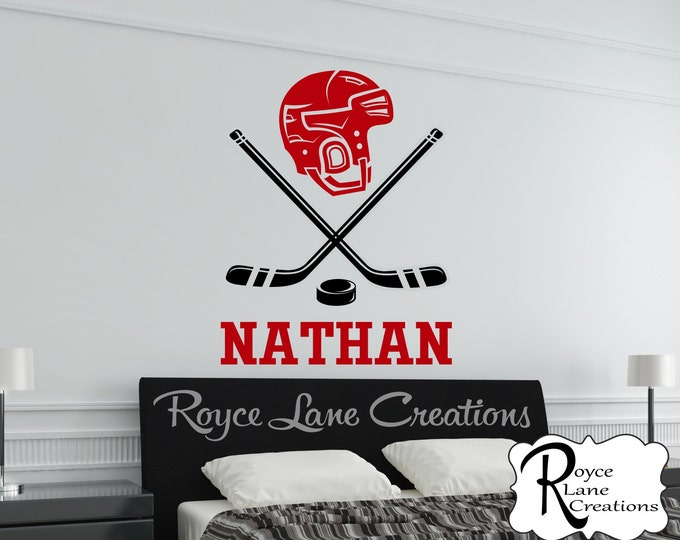 Hockey Wall Decal 2 with Personalized Name B35