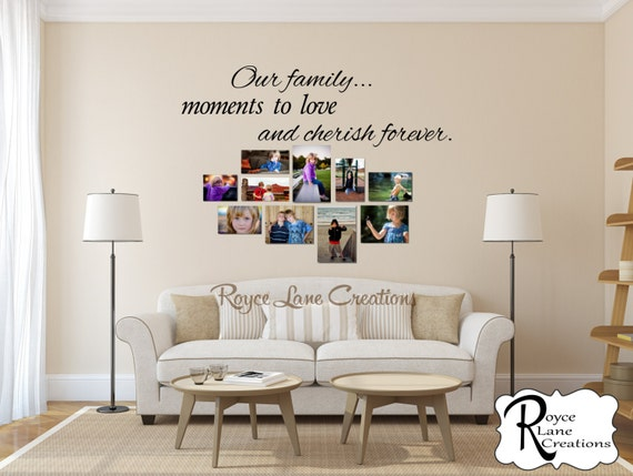 Gallery Wall Decal / Our Family...Moments to Love and Cherish Forever Photo Wall Decal