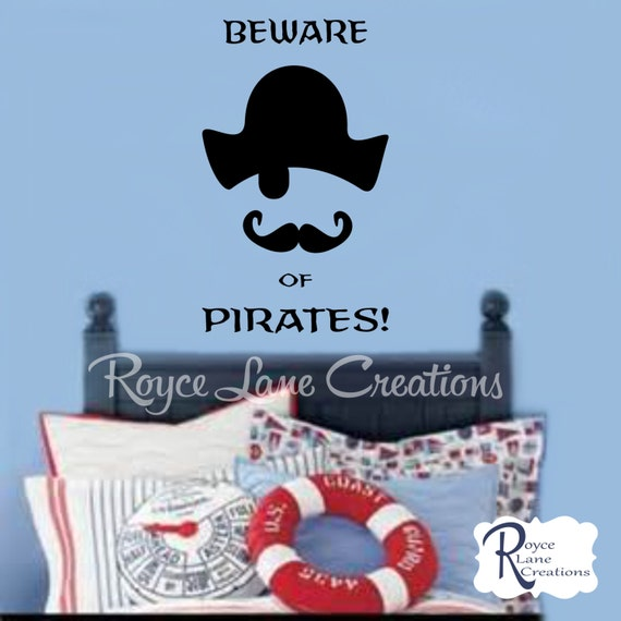 Pirate Decal Beware of Pirates Wall Decal
