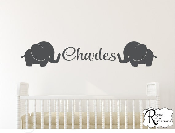 Elephant Nursery Decal with Personalized Name for Baby Boys or Baby Girls