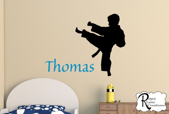 Karate Boy or Karate Girl with Personalized Name Kids Room Karate Decal