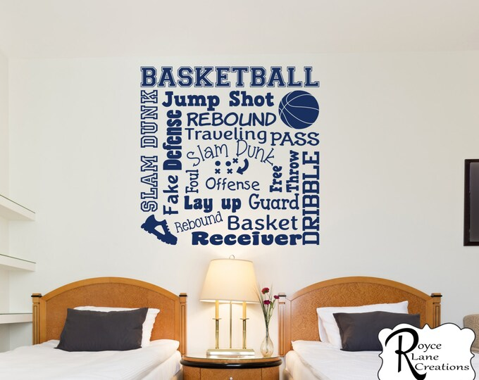 Basketball Wall Decal/Basketball Wall Decals Word Art 2/Sports Decor Basketball/Basketball Wall Decor/Room Decor Basketball