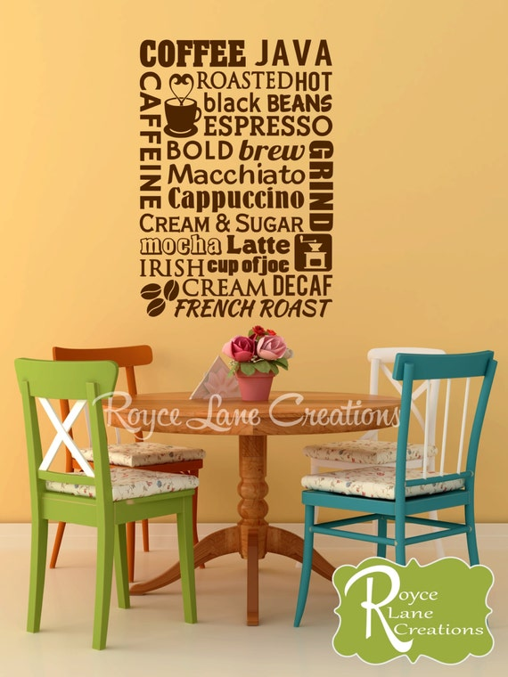 Coffee Word Art 2 Kitchen Wall Decal- Coffee Wall Decal