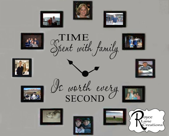 Time Spent with Family Clock Decal #4 for Family Photo Collage