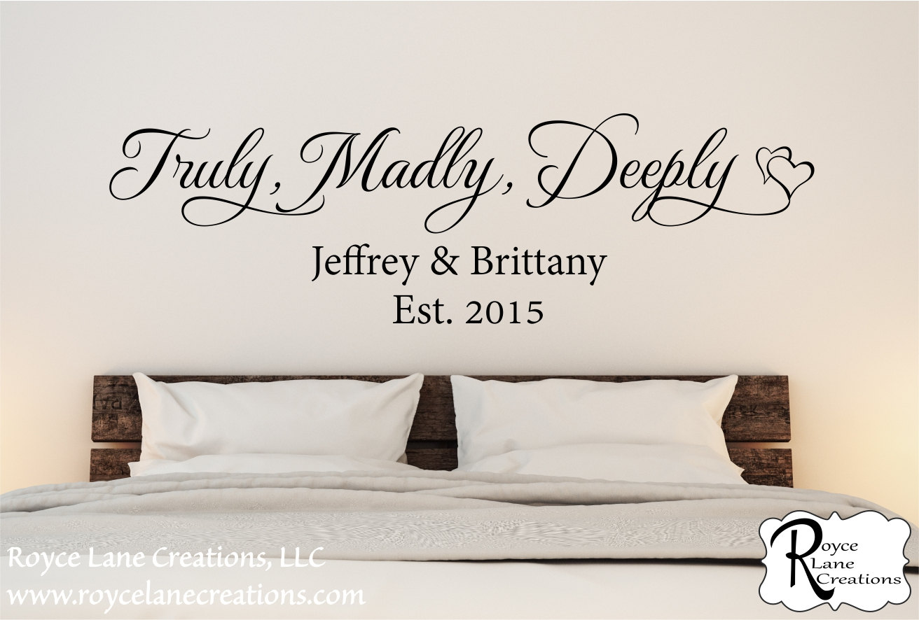 Truly Madly Deeply Family Established Bedroom Wall Decal  Bedroom Wall Quote    Bedroom Decor   Bedroom Wall Decor  Bedroom Decal