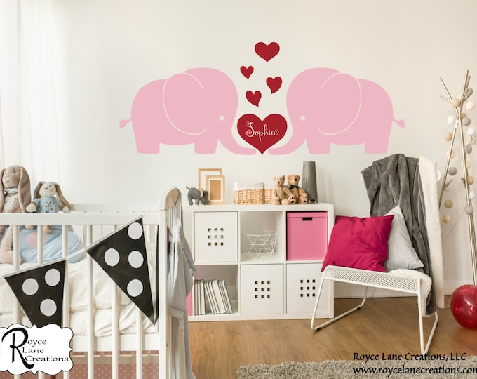 Elephants Love RLC2- Baby Elephant Wall Decals-Elephant Nursery Wall Decals-Elephant Nursery Decals-Elephant Nursery Decor-Elephants Nursery