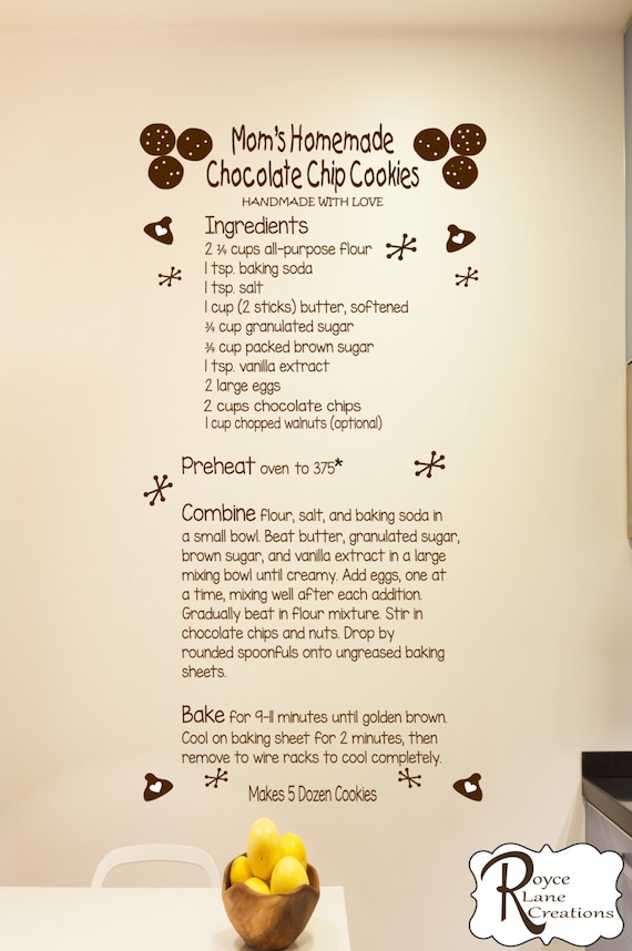 Chocolate Chip Cookie Recipe Decal