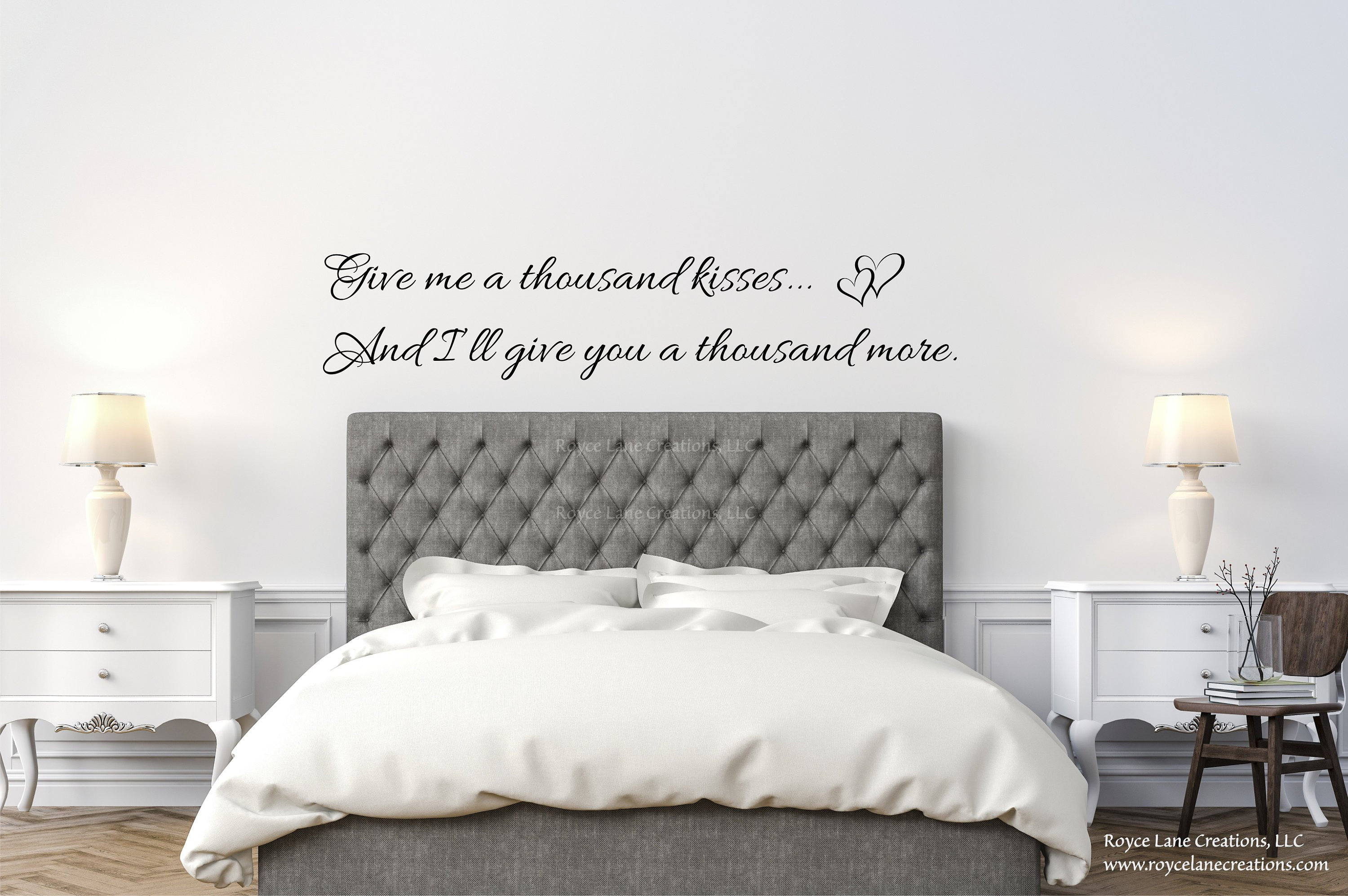 Give Me a Thousand Kisses Bedroom Wall Decal / Wall Quotes Bedroom/ Love  Quotes / Bedroom Wall Decor Over the Bed / Bedroom Wall Decor