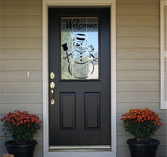 Welcome Decal - Front Door Decal - Welcome with Snowman #2  HS11 -Welcome Door Decal -Welcome Sign -Welcome Decal for Door-Winter Door Decal