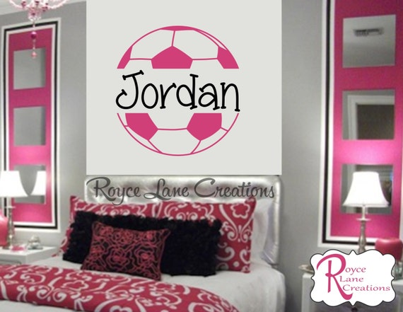 XLG Girls Soccer Ball Personalized Soccer Wall Decal Size 36x36