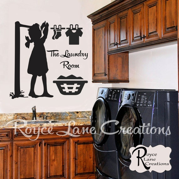 Little Girl Hanging up Laundry on a Clothesline Laundry Room Decal