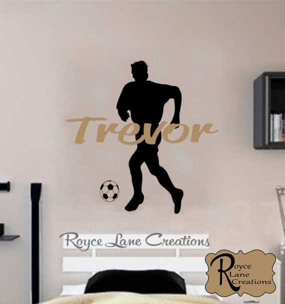 Soccer Player Silhouette and Personalized Name Wall Decal