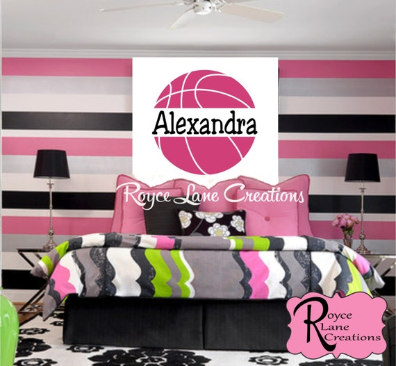 Basketball Decal with Personalized Name for Girls or Boys
