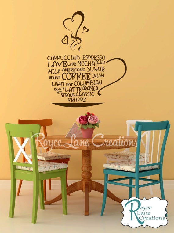 Coffee Word Art Kitchen Wall Decal- Coffee Art- Coffee Decor Kitchen- Coffee Wall Decal- Coffee Decal