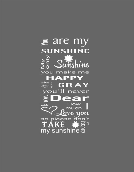 You Are My Sunshine Subway Art Nursery Wall Decal