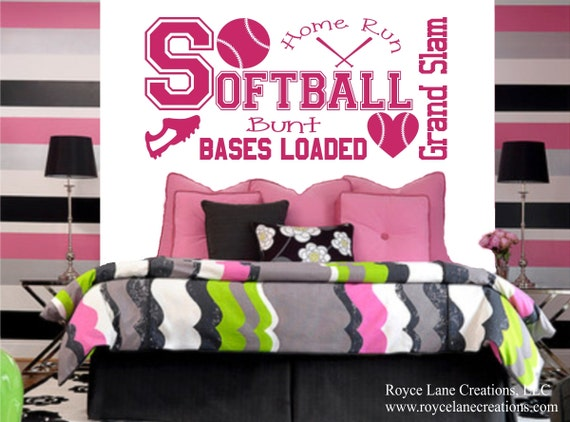 Softball Wall Decal for Girls Room