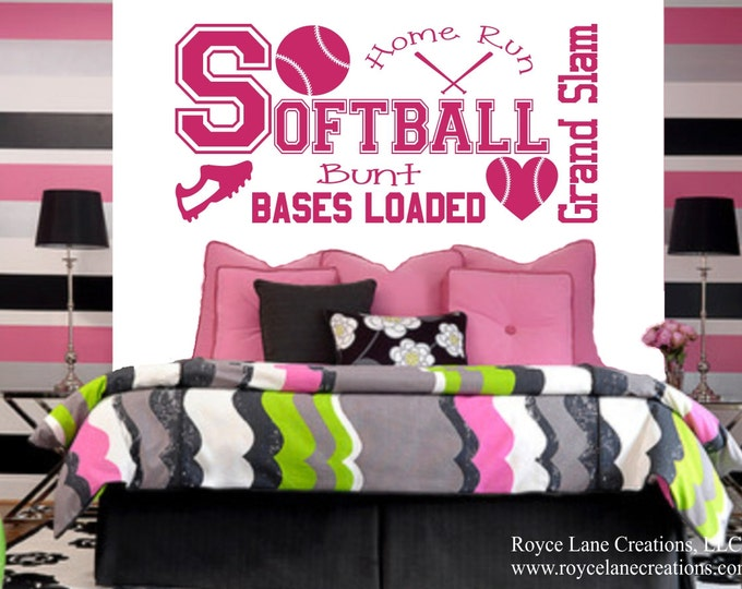 Softball Wall Decal for Girls Room B33 Teen Girl Bedroom Teen Room Decor Softball Wall Decal for Girls Bedroom
