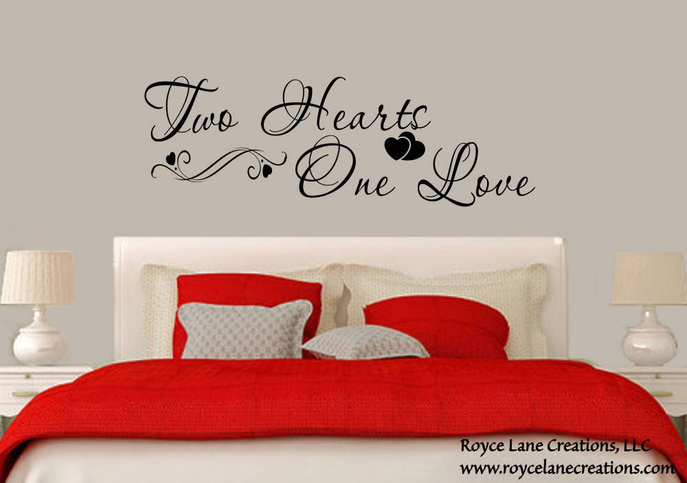Attirant Bedroom Wall Decal  Two Hearts One Love Bedroom Decal  Bedroom Decor   Master Bedroom Decor  Bedroom Wall Quotes  Bedroom Decals