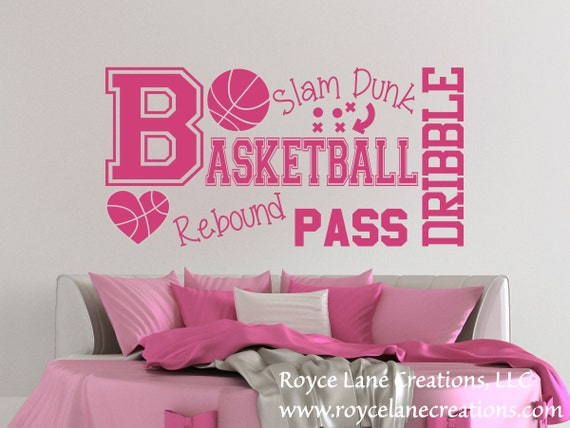 Basketball Word Art Wall Decal for Girls Room