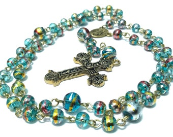 Blue and Gold Rosary; Bright Blue Rosary; Beaded Traditional Catholic Rosary, Gold Traditional Rosary, Communion, First Baptism Gift