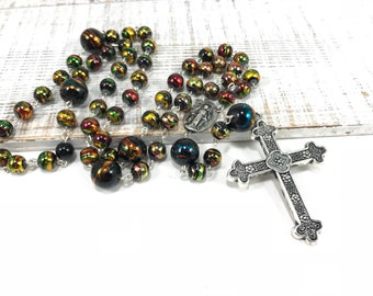 Sale Black and Gold Rosary; Black Rosary; Beaded Traditional Catholic Rosary Black Rosary Beads, Black Prayer Beads, Traditional Rosary